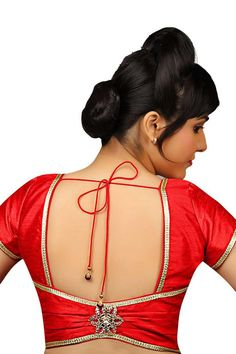 Bright #red casual wear raw #silk graceful #blouse with u neck -BL693