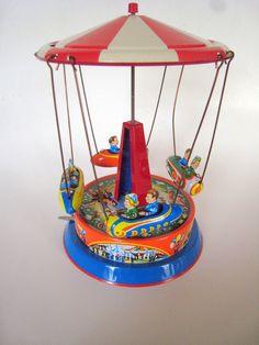 vintage tin toys | Vintage Blomer and Schuler West German Tin Toy Carousel | Tin toys
