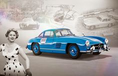 #VintagePoster as a desktop wallpaper for April. Mercedes Benz #300SL #Gullwing (Courtesy of Mercedes-Benz)