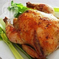 """Juicy Roasted Chicken – A baked """"hen"""" is used instead of a fryer. Many in the s… Juicy Roasted Chicken – A baked """"hen"""" is used instead of a fryer. Many in the south served a big juicy backed hen instead of a turkey for Thanksgiving or Christmas. Roast Chicken Recipes, Roasted Chicken, Pork Recipes, Cooking Recipes, Chicken Giblets, Cooking Pork, Rotisserie Chicken, Baked Chicken, Moist Chicken"""