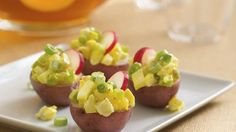 Potato Salad Bites-Turn potato salad into a potluck appetizer by serving it in small red potato shells. Appetizer Dips, Appetizers For Party, Appetizer Recipes, Potato Appetizers, Great Recipes, Favorite Recipes, Yummy Recipes, Healthy Recipes, Salads