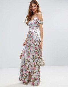 ASOS Rose Floral Cold Shoulder Satin Maxi Dress