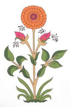 Mandarin and fuschia marigolds - floral linen fabric by Alex Conroy Textiles Floral Rug, Floral Motif, Floral Prints, Green Wallpaper, Fabric Wallpaper, Anemone Flower, Flower Art, Textile Prints, Art Prints