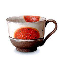 マグカップ おしゃれ/和風/信楽焼/食器/ギフト 和み唐草(赤)