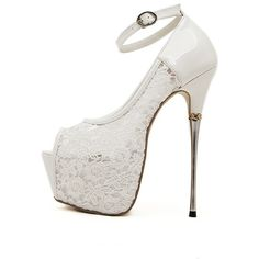 White Lace Ankle Strap Peep Toe Platform Stiletto High Heel Pumps (£37) ❤ liked on Polyvore featuring shoes, pumps, white shoes, mid-heel pumps, platform pumps, mid heel pumps and platform shoes