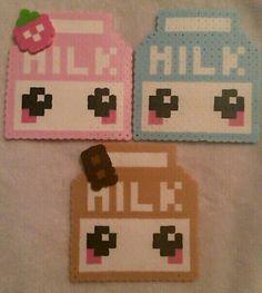 Set of THREE perler bead milk carton coasters