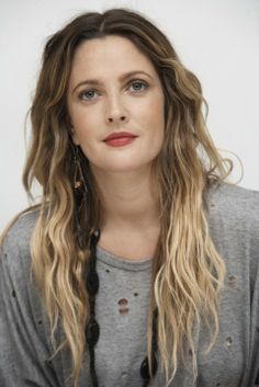 Drew Barrymore with Beautiful Beach Waves, try this look by keeping the strands thin towards the ends maintaining some volume around the ears- Spring/Summer 2014
