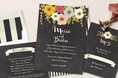 faire part mariage fond noir et motif fleurs