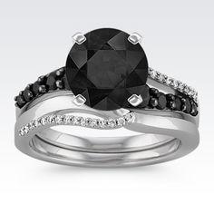 Swirl Round Black Sapphire And Diamond Wedding Set With Rhodium