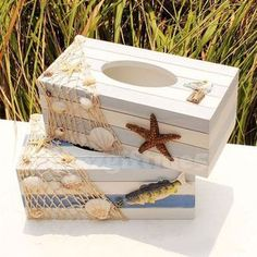Marine Fish Starfish Sea Ocean Style Wooden Tissue Box Paper Cover Home Decor