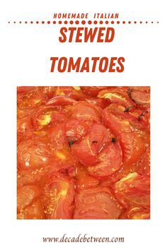 An Easy Homemade Italian Stewed Tomatoes Recipe. This recipe is great for immediate use, canning and freezing. This makes preparing work-night meals that much faster. Italian Stewed Tomatoes Recipe, Stewed Tomato Recipes, Canning Stewed Tomatoes, Fresh Tomato Recipes, How To Stew Tomatoes, Pork Recipes, Zucchini Side Dishes, Vegetable Dishes, Vegetable Recipes