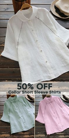 Pure Color Peter Pan Collar Short Sleeve Shirts. 4 colors options. US size 8 to 20. #shirts #women #tops