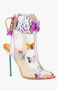 Sophia Webster Harmony mesh 3-D butterfly booties in rosa/turquoise/orange.