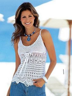 top blanc aux motifs ananas- Free crochet top pattern with links to other free patterns. Charts only