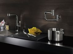 dornbracht tara ultra wall mounted tubfiller Modern Pot Filler new wall mounted Ultra by Dornbracht Dornbracht Tara, Modern Pot Fillers, How To Wash Vegetables, Sink Units, High End Kitchens, Farm Projects, Kitchen Must Haves, Kitchen Fixtures, Kitchen And Bath
