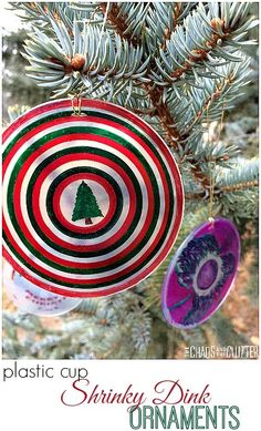Shrinky Dink Christmas Ornaments made with Plastic Cups. This is a great craft to make with multiple ages from preschooler to adult. Christmas Ornaments To Make, Christmas Crafts For Kids, How To Make Ornaments, Homemade Christmas, Christmas Themes, Christmas Fun, Holiday Crafts, Celebrating Christmas, Christmas Projects