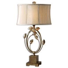 Uttermost Alenya Burnished Gold Metal Accented Table Lamp ($284) ❤ liked on Polyvore featuring home, lighting, table lamps, gold frame, golden lighting, gold shades, leaf lamp, uttermost lighting and oval shade