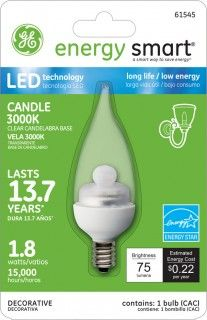 GE Energy Smart 10W Replacement (1.8W) Candle CA11 LED Bulb (Warm, Clear, E12). for only $19.95