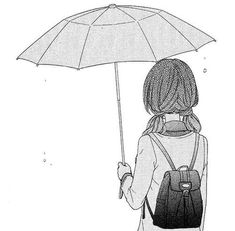 -, anime, black and white, girl, manga, manga cap, manga caps, monochrome, rain
