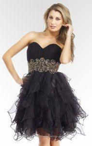 Beautiful black dress, nice design and cute ruffles.