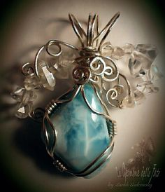 (by Le Gemme delle Fate -Sarah Sudcowsky Jewelry Art) - Artwork Jewelry -Larimar (Santo Domingo), Diamond Quartz (Pakistan), SILVER 925 wire.