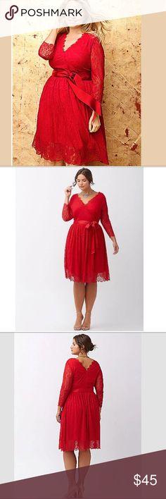 "95e815bc80fc5 Lane Bryant Red Lace Ribbon Dress Size  24 Chest - (52"") Armpit"