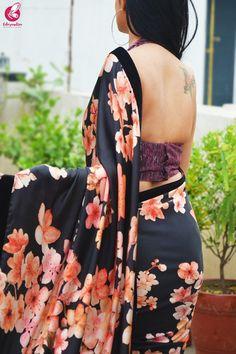 Buy Black Satin Printed Satin Velvet Taping Saree Online in India Saree Jacket Designs, New Saree Blouse Designs, Beautiful Saree, Beautiful Indian Actress, Satin Saree, Silk Sarees, Sarees For Girls, Saree Backless, Saree Trends