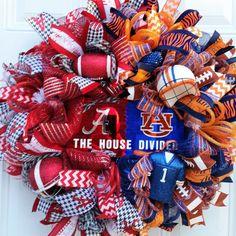 Alabama AU House Divided Wreath-Roll Tide by StudioWhimsybyBabs Sports Wreaths, Mesh Wreaths, Alabama Crimson, Crimson Tide, House Divided Wreath, Football Wreath, Roll Tide, School Spirit, Deco Mesh