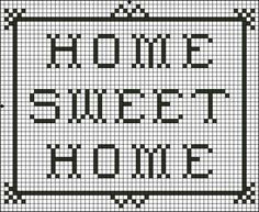 Free Small Saying Cross Stitch Patterns - Printable Free Cross Stitch Charts: Free Home Sweet Home Saying Cross Stitch Pattern - Free Printable Chart Cross Stich Patterns Free, Free Cross Stitch Charts, Cross Stitch Borders, Cross Stitch Designs, Cross Stitching, Cross Stitch Embroidery, Diy Embroidery, Crochet Cross, Filet Crochet