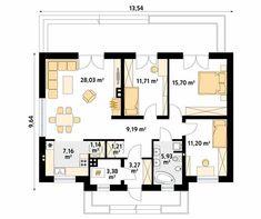 Decyma 2 projekt domu - Jesteśmy AUTOREM - DOMY w Stylu Porch House Plans, Dream House Plans, Small House Plans, Plans Architecture, Social Housing, Facade House, Building Plans, Flat Design, Sweet Home