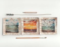 Beach photo prints, Triptych wall art, Seagull, Photo gifts, Blue Orange, Nature, Beach photography, Sunset print, Photo on cork, 4x4 10x10