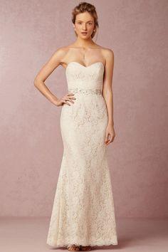 Trumpet/Mermaid Strapless Floor-length Sleeveless Lace Wedding Dresses UK with…