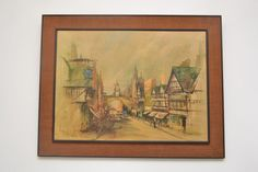 Stylish XL Mid Century Vintage Hessian Framed Print Eastgate Chester Ben Maile