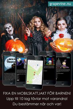 Mobilskattjakt: Jakten på spökskattenHalloweenskattjakt  i mobilen - en cool och annorlunda runda med bus - och godis! Allt är  uppbyggt kring en rolig story och till sist ska en skatt hittas! Enkel  att fixa och genomföra, och hur kul som helst! Upp till 10 lag kan tävla  på tid på halloweenfesten elelr så gör man det som en kul  familjeaktivitet i Allhelgonahelgen!