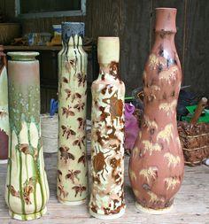 samantha henneke insect vases  glazed or underglaze then carved