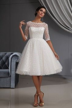 Winey Bridal Short Sexy See-through Bateau Long Sleeves Beach White Wedding Dresses