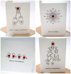 18 wonderful Christmas cards you can make in just 30 minutes – Christmas DIY Holiday Cards Create Christmas Cards, Christmas Card Crafts, Homemade Christmas Cards, Christmas Drawing, Homemade Cards, Handmade Christmas, Holiday Cards, Christmas Decorations, Christmas Presents
