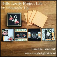 """4x4"""" cards in fitting box made with Hello Lovely project life kit by Stampin' Up!"""