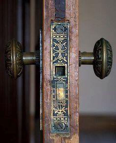 Old Brass Door Knobs Antiques 37 Ideas Art Nouveau, Door Knobs And Knockers, Brass Door Knocker, Door Jamb, Brass Hinges, Jugendstil Design, The Doors, Door Locks, Home And Deco
