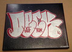 "DECK WGF Throwie on a 10"" x 8"" Spray Paint Canvas NYC Graffiti Art Paint Markers #UrbanArt"