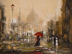 Painting A Woman with a Red Umbrella - Artist Marek Langowski