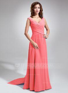 A-Line/Princess V-neck Floor-Length Chiffon Bridesmaid Dress With Ruffle Bow(s) (007001484) - JJsHouse