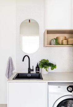 Likes - black matte tap and sink Small Laundry Rooms, Laundry In Bathroom, Decor Interior Design, Interior Decorating, Chaise Ikea, Bedside Table Design, Laundry Room Inspiration, Laundry Room Design, Bathroom Interior