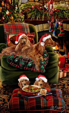 """New for 2014! Irish Setter Christmas Holiday Cards are 8 1/2"""" x 5 1/2"""" and come in packages of 12 cards. One design per package. All designs include envelopes, your personal message, and choice of greeting.Select the inside greeting of your choice from the menu below.Add your custom personal message to the Comments box during checkout."""