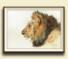 PRINT-Lion - Male lion african trophy - safari nursery- watercolor painting print- african lion big cat watercolor- Art Print by Juan Bosco by SanMartinArtsCrafts on Etsy https://www.etsy.com/listing/232574764/print-lion-male-lion-african-trophy