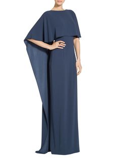 Lightweight Satin Back Cape Overlay Gown