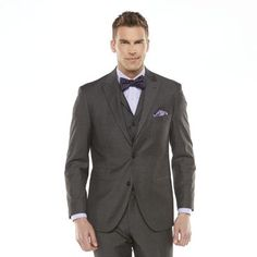 Savile Row Modern-Fit Sharkskin Gray Suit Jacket - Men $75.00