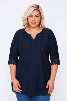 BURNHAM BAY Navy Longline Jersey Top With Crochet Lace Panel