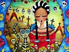 Frida Kahlo Girl Art Print, Day of the Dead Cat Art, Mexican Art, Watercolor Mixed Media 7.5 x 10
