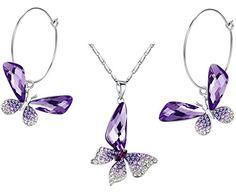 Arco Iris Schmuck Schmetterling Flügel österreichischen Kristall Anhänger Halskette und Ohrringe Set für Damen (Lila) 2004801set